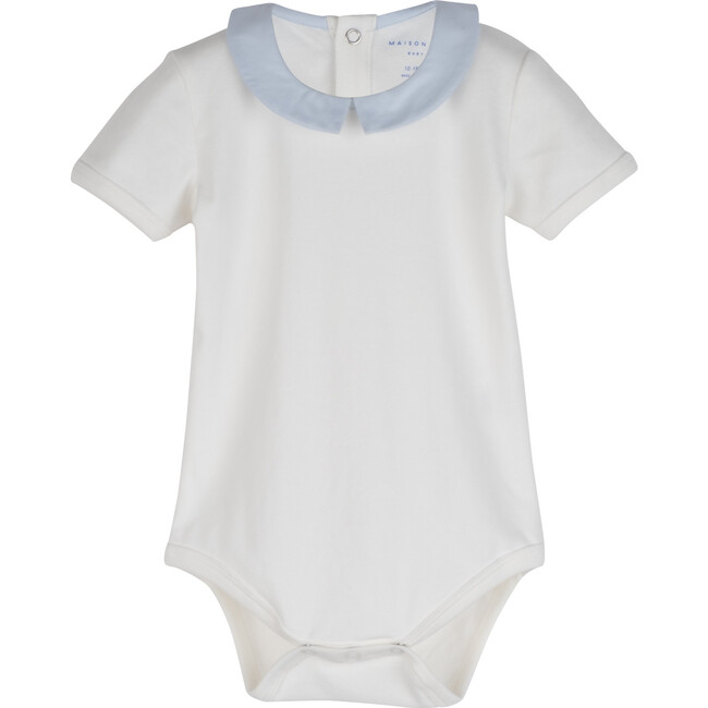 Syd Short Sleeve Pointed Collar Bodysuit, White with Blue Collar
