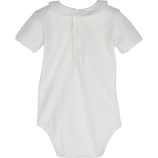 Syd Short Sleeve Pointed Collar Bodysuit, White with White Collar