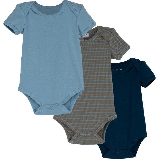 Perry Short Sleeve Bodysuit Trio, Blue & Green Multi