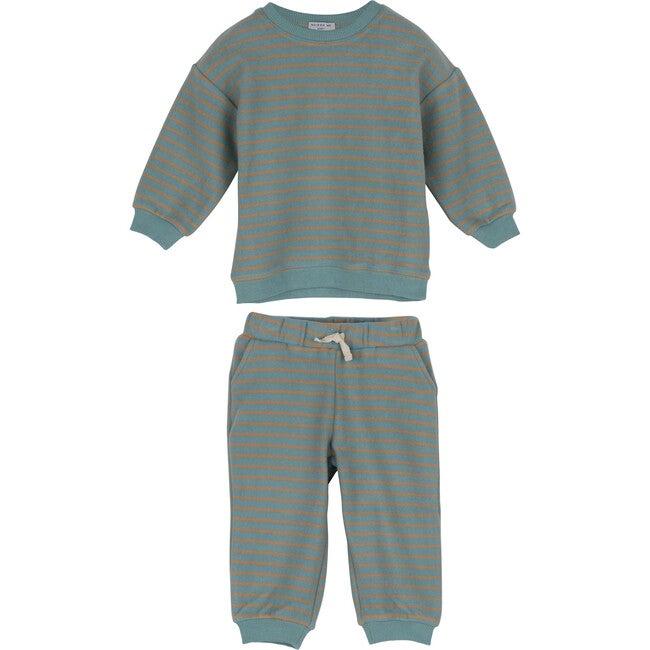 Fuzzy Jones Sweat Set, Dusty Blue & Tan Stripe