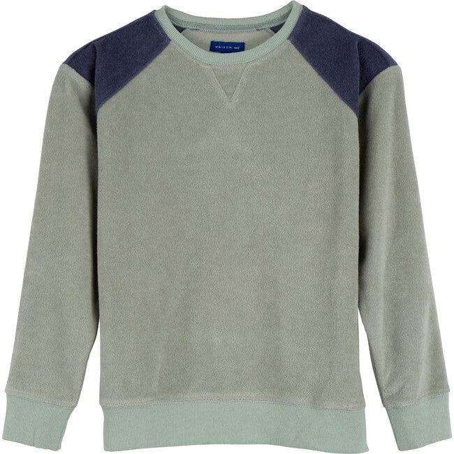River Terry Sweatshirt, Light Sage & Dusty Navy