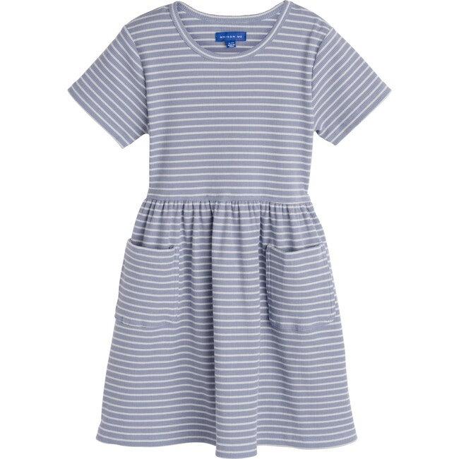 Marla Short Sleeve Ribbed Dress, Dusty Blue & Pale Blue