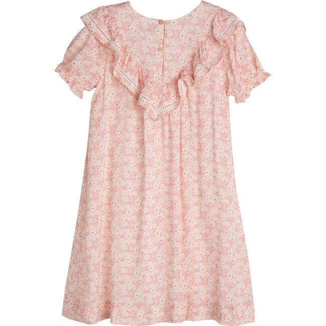 Camille Dress, Pink Brushstroke Flowers