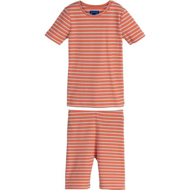 Emerson Short Sleeve Pajama Set, Coral Multi Stripe