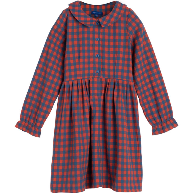 Emma Collared Dress, Red & Blue Check - Dresses - 1