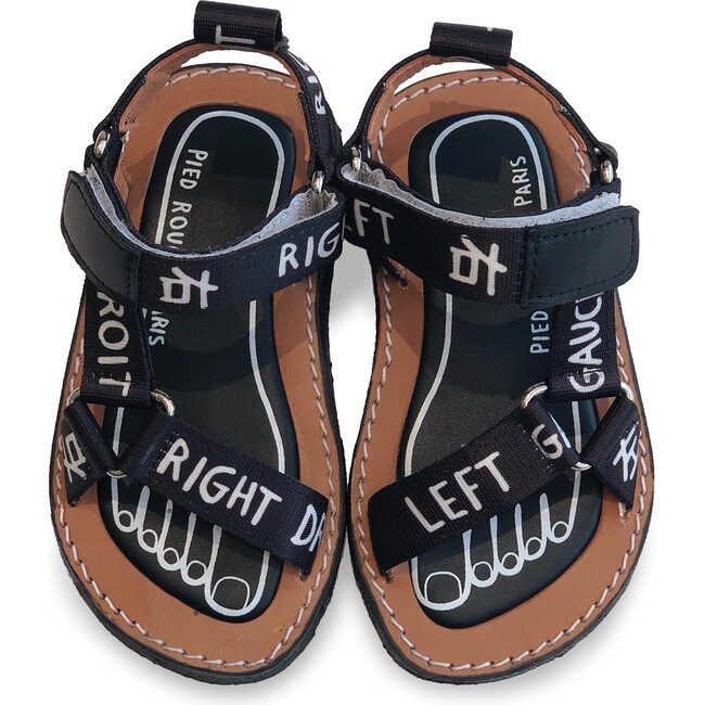 Walkie Talkie Sandal, Left Right Black & White