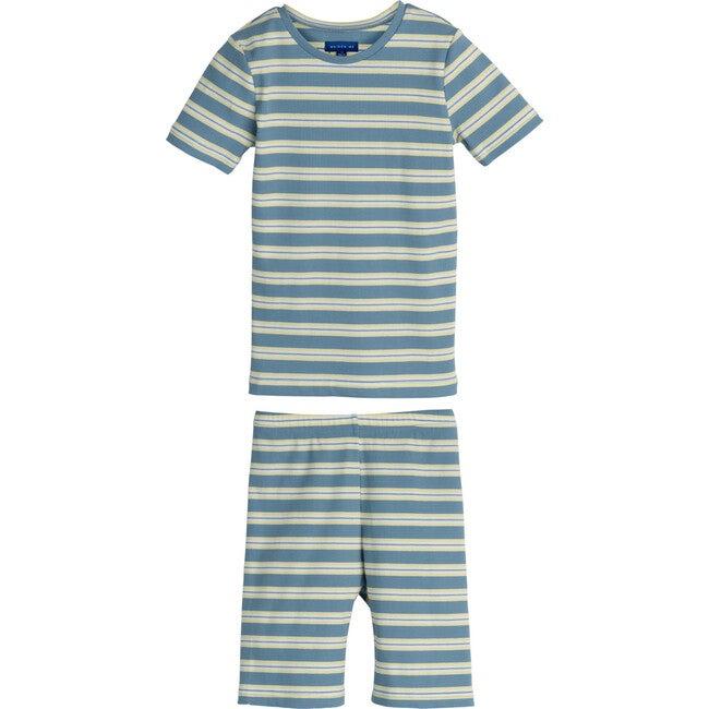 Emerson Short Sleeve Pajama Set, Blue Multi Stripe