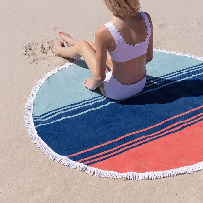 Round Beach Towel, Coral Sunset