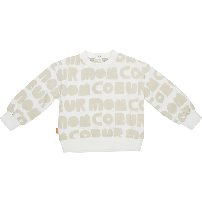 Mon Coeur All-Over Baby Sweatshirt, Beige - Sweatshirts - 1