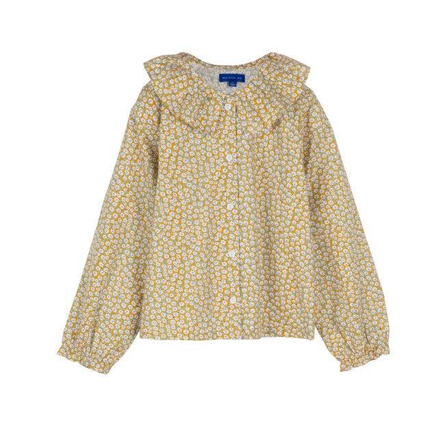 Lilliana Long Sleeve Collared Top, Marigold Ditsy Floral - Shirts - 1