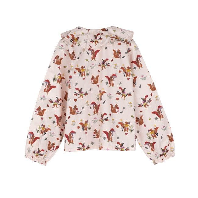 Lilliana Long Sleeve Collared Top, Cream Squirrels