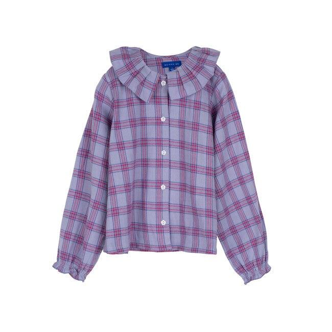 Lilliana Long Sleeve Collared Top, Lavender Multi Plaid