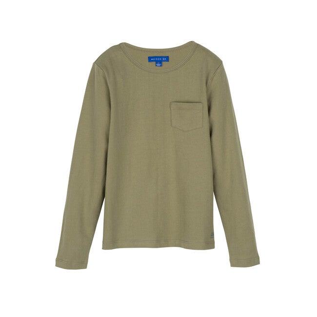 Drew Long Sleeve Tee, Dark Dusty Sage - Shirts - 1