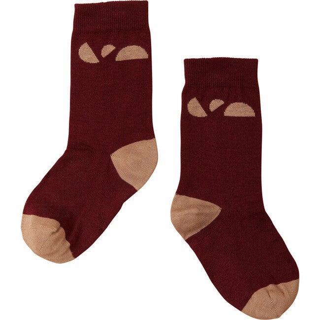 Contrast Heel Socks, Dark Rose