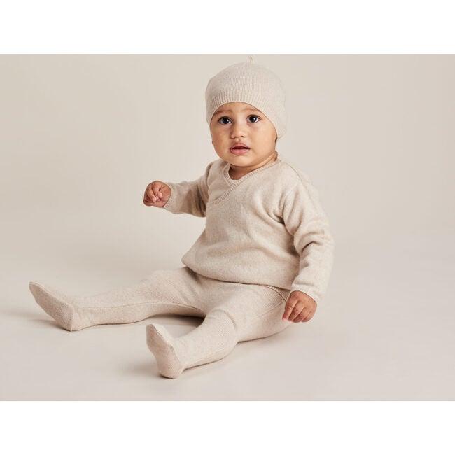 Wrap Top Leggings and Tassel Hat Set, Oatmeal Marl