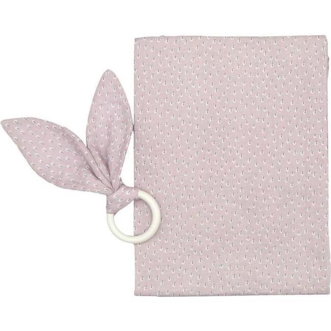 Teething Ring & Burping Cloth, Pink