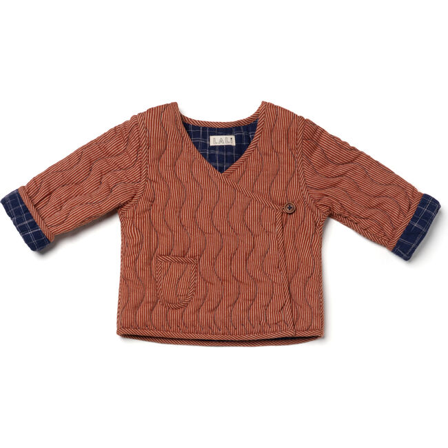 Reversible Baby Cabin Quilted Jacket, Midnight Blue Space Dye & Amber Stripes