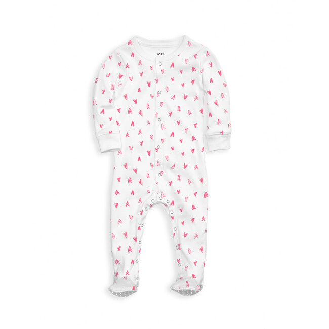 Organic Footed Pajama, Light Pink Hearts