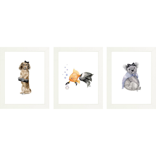 Set of 3 Fancy Animals Prints, Girls Night Out