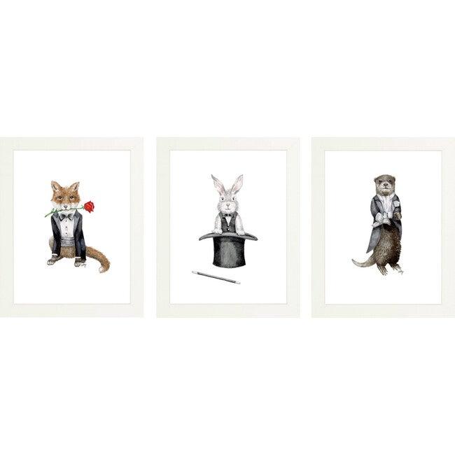 Set of 3 Fancy Animals Prints, Boys Night Out - Art - 1