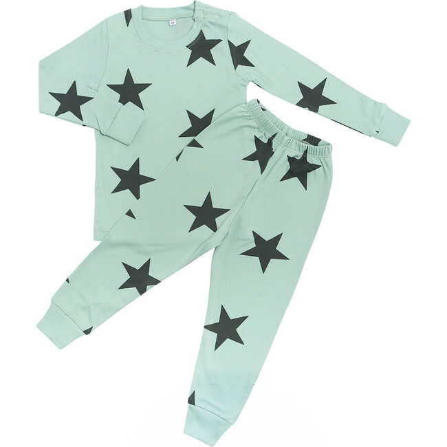 Bold Star Two Piece Pajama in Zanzibar Green