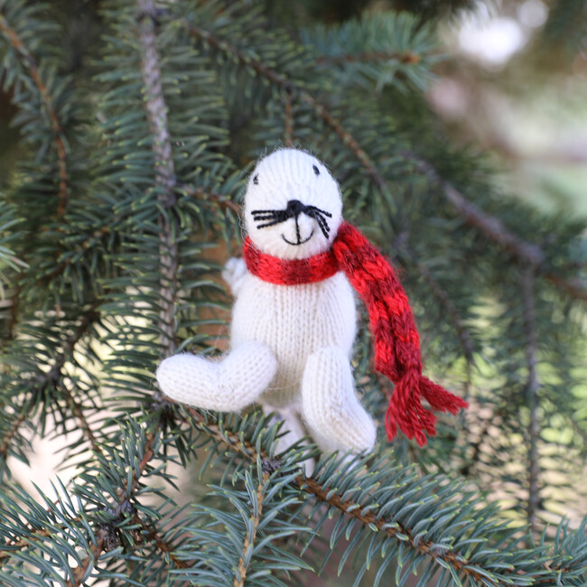 Set of 3 Holiday Seal Ornaments, White