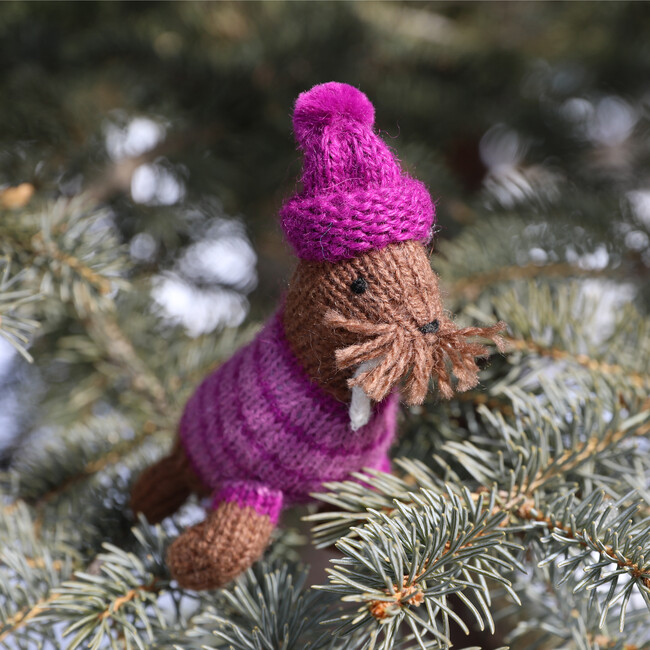 Set of 6 Winter Walrus Holiday Ornaments, Brown