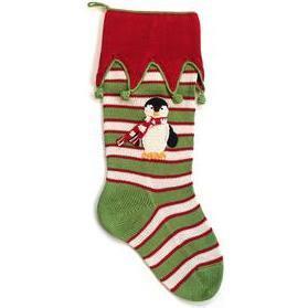 Penguin Stocking, Green Stripe