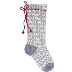Patterned Stocking, Grey/Red