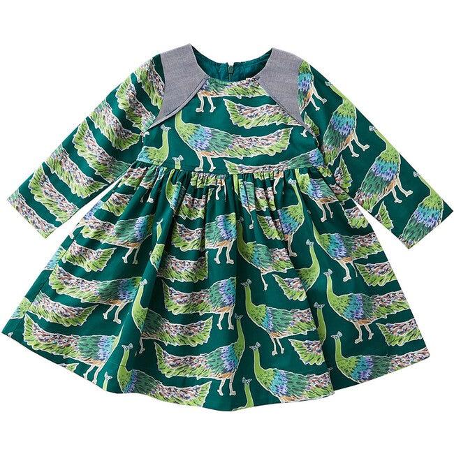 Songbird Dress, Evergreen Peacocks