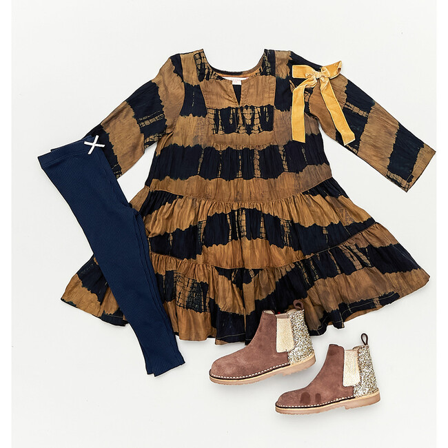 Penelope Dress, Navy & Gold Tie Dye