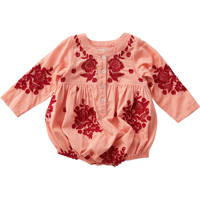 Jocelyn Bubble, Burnt Coral & Marlow Embroidery - Onesies - 1