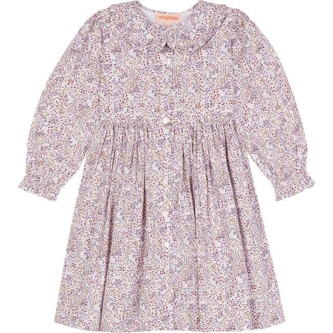 The Little Ruffle Collar Dress, Khaki & Blush Floral