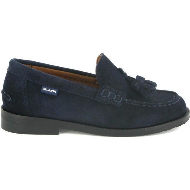 College Shoe with Tassel in Suede, Dark Blue