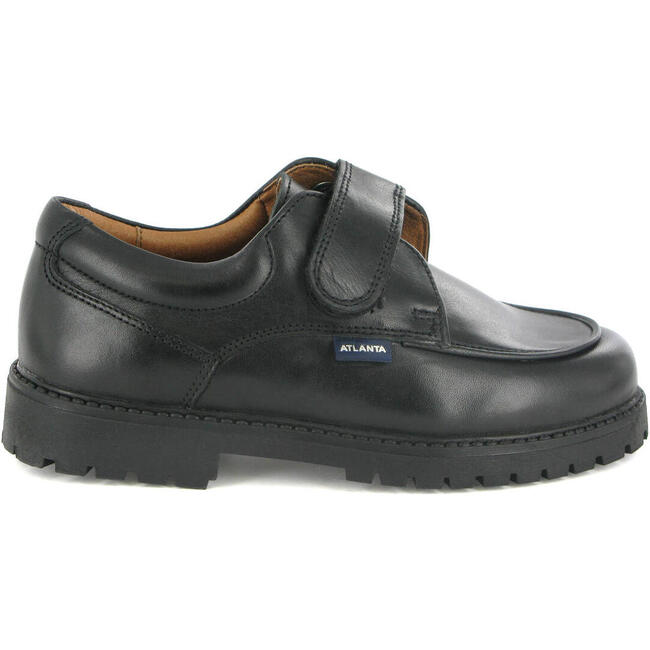 College Shoe with Velcro in Smooth Leather, Black