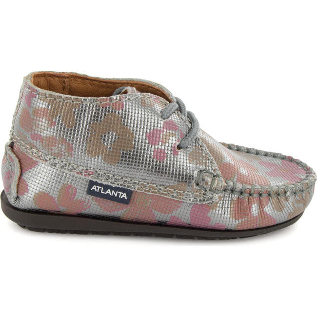 Moccasin Boot in Printed Leather, Grey
