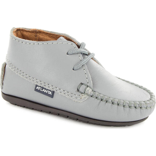 Moccasin Boot in Smooth Leather, Stone Grey