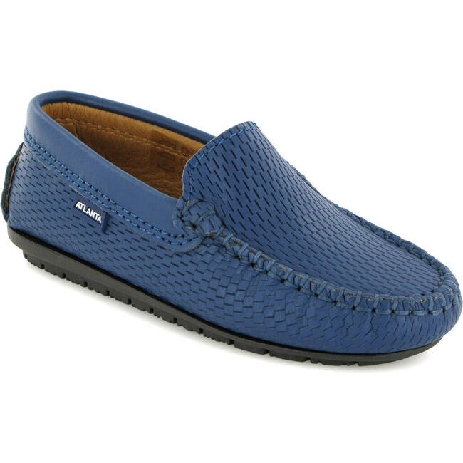Plain Moccasin in Smooth Leather, Ocean