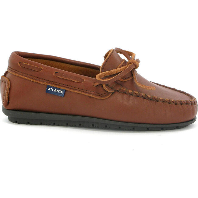 Laces Moccasin in Smooth Leather, Cuoio