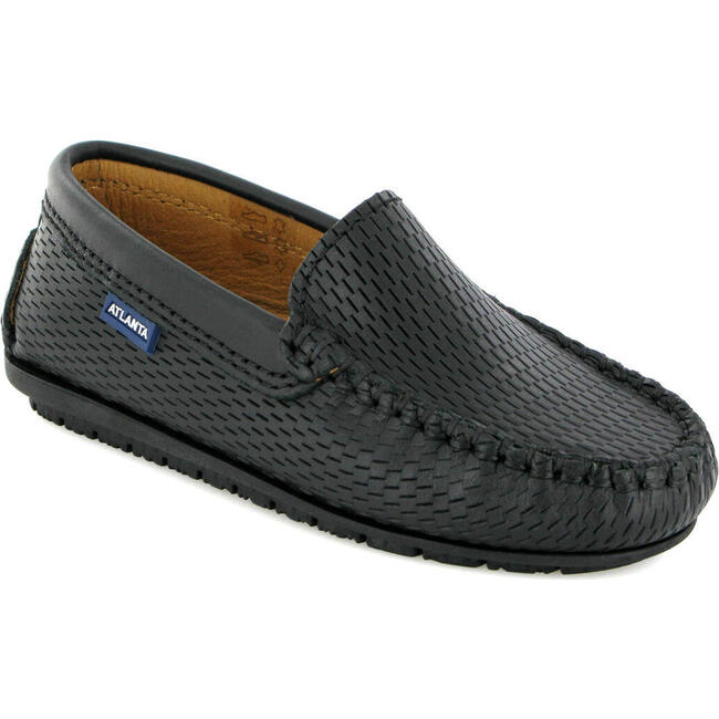 Plain Moccasin in Smooth Leather, Black