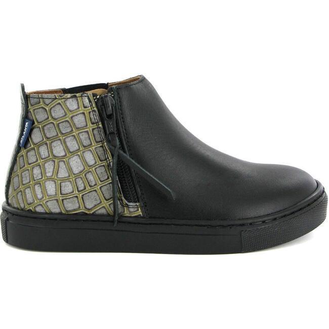Sneaker Boot in Croco-effect Leather, Black