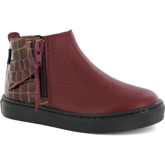 Sneaker Boot in Croco-effect Leather, Burgundy