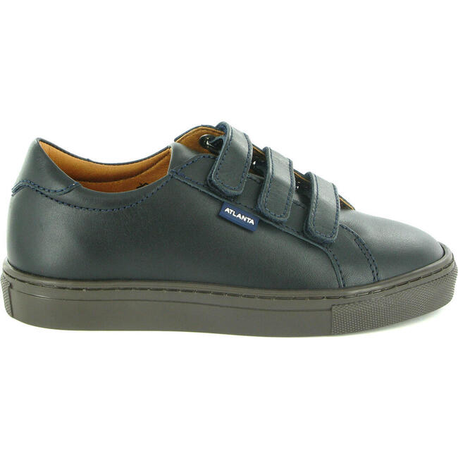Three Straps Sneaker in Smooth Leather, Navy