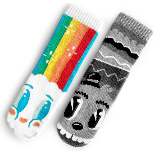 Mismatched Sock Set, Rainbow Face & Mr. Grey