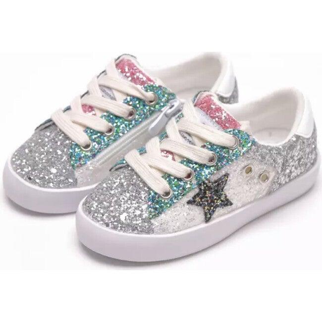 Star Glitter Sneakers, Silver - Sneakers - 1