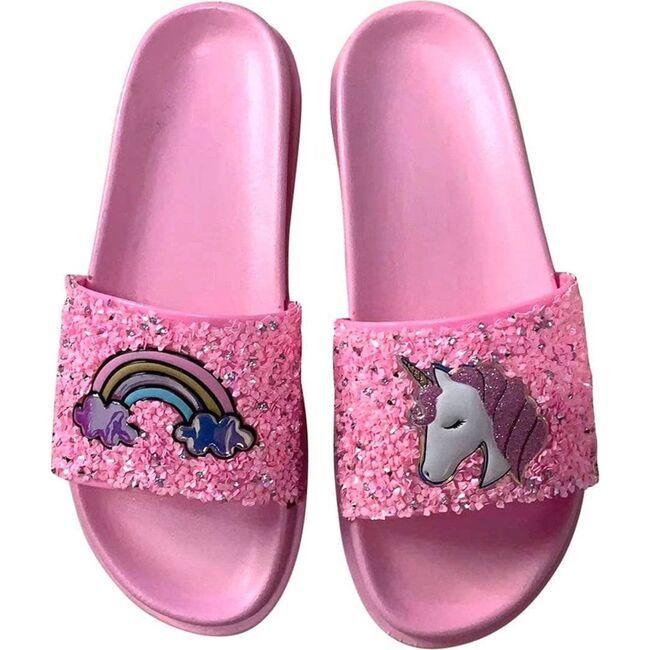 Glitter Unicorn Slides, Pink - Sandals - 1