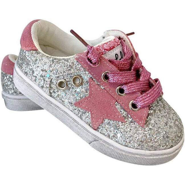 Glitter Pink Star Sneakers, Pink