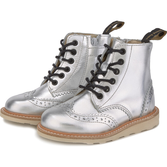 Sidney Brogue Boot Silver Leather