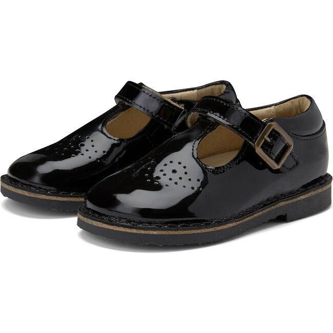 Penny Velcro T-bar Shoe Black Patent Leather