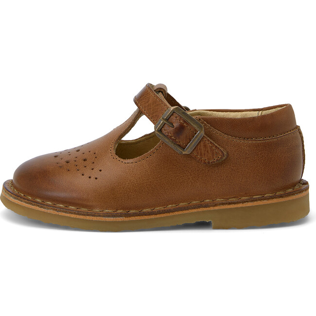 Penny Velcro T-bar Shoe Tan Burnished Leather